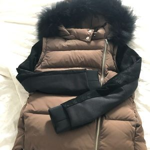 Maje down jacket with leather sleeves and fur hood